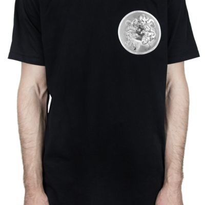 "ADORE – BLACK ""SKULLDUSSA BADGE"" NEGATIVE PRINT T-SHIRT"